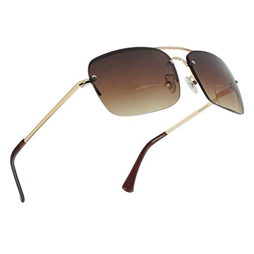 Classic Square Aviator Bifocal Sun Reading LIghtweight Sports Sunglasses for Men and Women (Gold | Brown Gradient, 3.00)