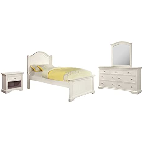 HOMES Inside Out 4 Piece IoHOMES Maggie Transitional Youth Panel Bed Set Twin White
