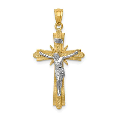 14k Two Tone Gold Crucifix Cross Religious Pendant Charm Necklace Fancy Fine Jewelry Gifts For Women For Her - Baby Crucifix Gold