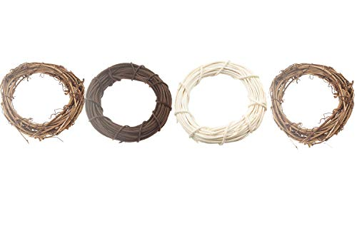 Emours Willow Branch Rattan Round Rings Chew Toys for Small Animals Rabbits Guinea Pigs Chinchillas Pet Rats 4Pcs