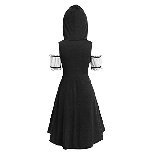 Pongfunsy Womens Sleeveless Tops Summer Vintage Cloak Plus Size Long Hooded Loose Front Tie Vest with Floral Cami Top (XXL, Black 1)