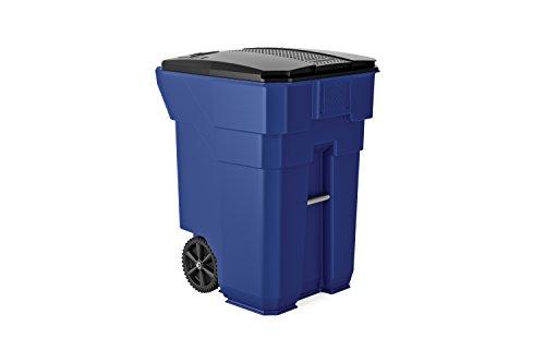 Suncast Commercial BMTCW96BL Wheeled Trash Can, 43.75