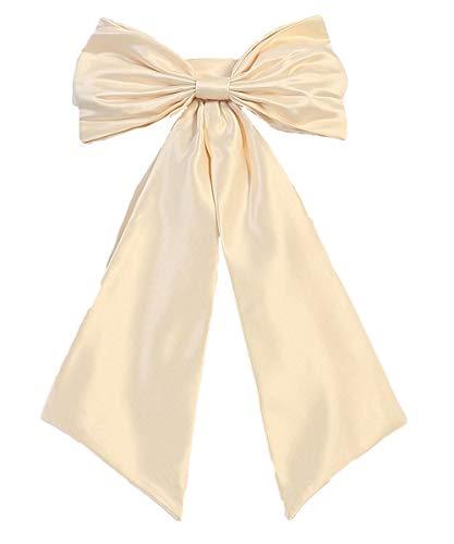 Hot Dresses Flower Girl Sash Belt with Big Bow (L, Light Champagne)