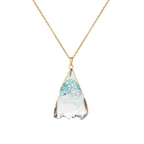 Lenox Sterling Silver Necklace - Ballad Women Simple Necklace Natural Crystal Ore Irregular Personality Pendant Necklace Gifts for Women Sky Blue
