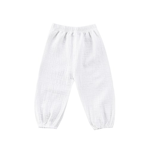 - BULINGNA Cute Toddler Kids Baby Boy Girl Casual Eelastic Harem Long Pants Bloomers (3-4 Years, White)