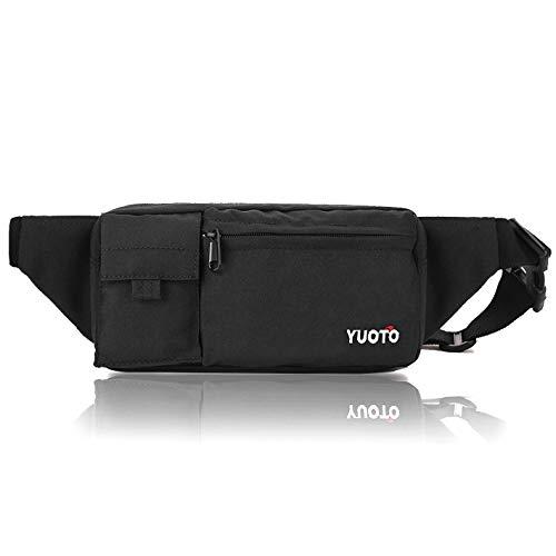 Price comparison product image YUOTO Fanny Pack 4 Pockets Travel Workout Cycling Running Waist Bag Hip Belt Bum Bag Men & Women fit iPhone Plus black