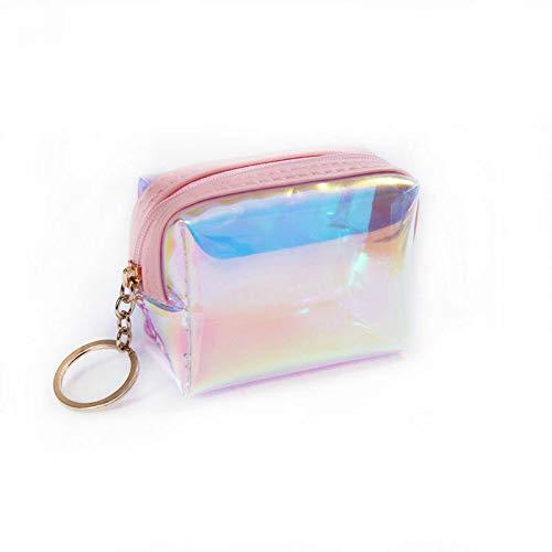 Girls Mini Laser Purse Laser Transparent PVC Wallet Zipper Coin Pouch Key Pocket (Color - #1 pink) (Checkbook Wallet Tattoo)
