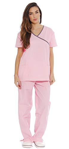 Just Love Women's Scrub Sets/5 Pocket Medical Scrubs Uniforms (Mock Wrap), Light Pink With Steel Grey Trim, -