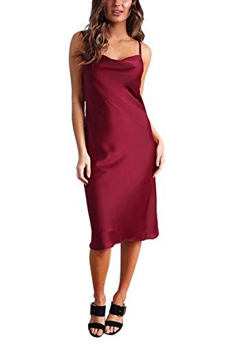 Linsery Women's Satin Spaghetti Strap Rear Zipper Low Neck Polka Dot Club Midi Dress Ruby M