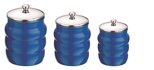 Mushroom Canister Set - Kitchen Kemistry, Ribbed Stainless Steel with Mushroom Lid Combo, 3 Pieces, Cobalt Blue
