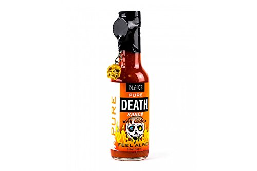 (Blair's Pure Death Hot Sauce with Jolokia (Ghost Pepper) and Skull Key Chain - 5 oz.)