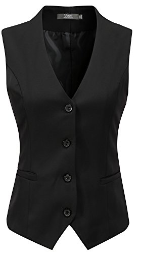 Vocni Women's Fully Lined 4 Button V-Neck Economy Dressy Suit Vest Waistcoat ,Black,US M ,(Asian 3XL) (Women Vest)