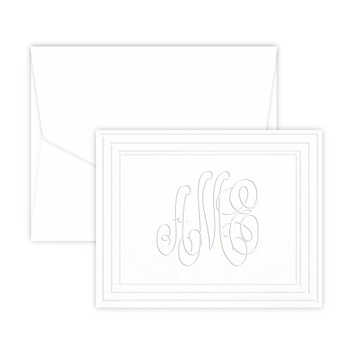 Classic Frame Monogram Note - Embossed (White) - Embossed Graphics Stationery