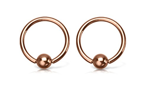Rose Gold PVD Plated Stainless Steel Captive Bead Rings for Septum, Lip, Nipple, and Ear Piercings - Sold as a Pair - Available in Multiple Sizes (16GA - 3/8