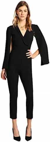 42128c94cb8e Romwe Women s Elegant Plunging Neck Cloak Sleeve Solid Color Party Jumpsuit  Romper