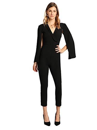 Surplice Neck - Romwe Women's Elegant Surplice Neck Cloak Sleeve Party Cocktail Cape Jumpsuit Black#1 Small