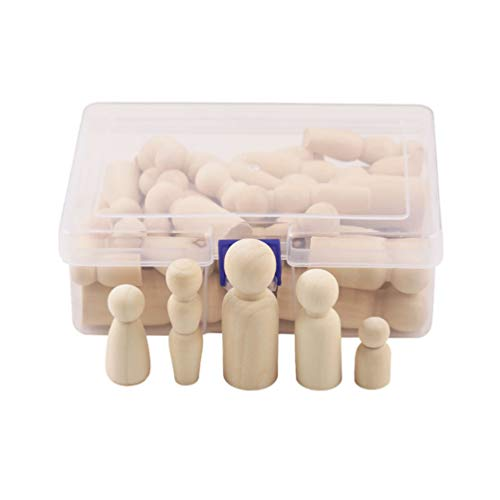 Healifty 40PCS Wooden Peg Doll People Toys Unfinished Decorative Wooden Doll Bodies for Kids DIY Arts Craft