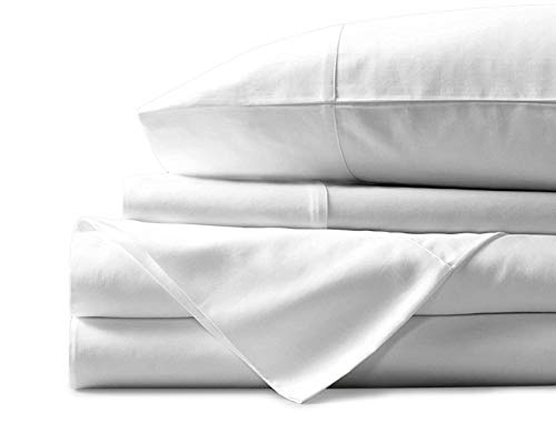 (Mayfair Linen 100% Egyptian Cotton Sheets, White King Sheets Set, 600 Thread Count Long Staple Cotton, Sateen Weave for Soft and Silky Feel, Fits Mattress Upto 18'' DEEP Pocket)