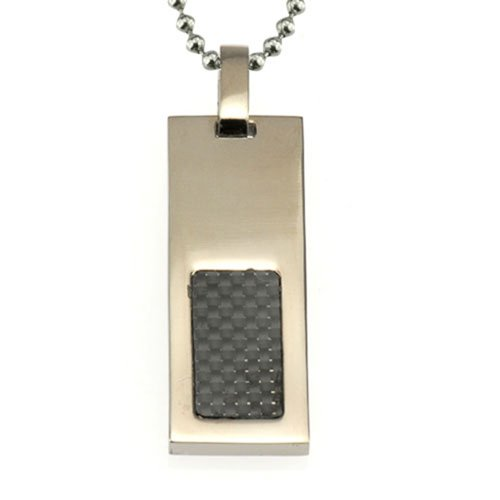 Black Carbon Fiber Inlay Rectangular Shape Solid Titanium Jewelry Pendant Necklace 18 inches chain (Inlay Rectangle Pendant)