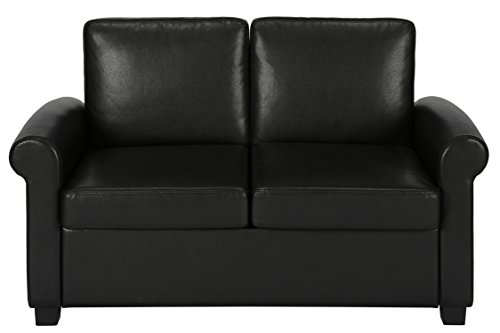 amazoncom dhp premium sofa bed pull out couch sleeper sofa with pull out bed twin size black faux leather sofa sleeper coil mattress included