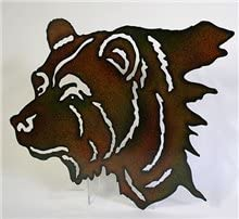 s sales Metal Bear Head Wall Art Lazer Cut Out Large 25
