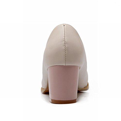 Latasa Mode Féminine Mignonne Bow Ronde Bout À Bout Chunky Mi-talon Mocassins Chaussures, Pompes Rose