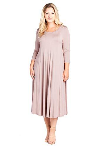 Kiwi Plus Modern Maxi Mocha Size Long Dress Women's 4X Flowy Sleeve 1X 6qwwS1