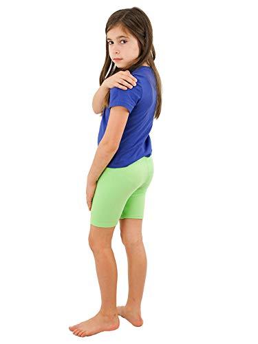 Vivian's Fashions Legging Shorts - Girls, Biker Length, Cotton (Lime, -