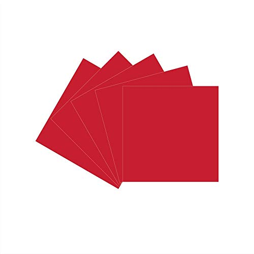 "12"" x 12"" Permanent Vinyl, 5 Packs Glossy Red Indoor, Outdoor Adhesive-Backed Vinyl in Glossy Finish for Silhouette and Cricut to Make Monograms Stickers Decals and Signs (Red)"