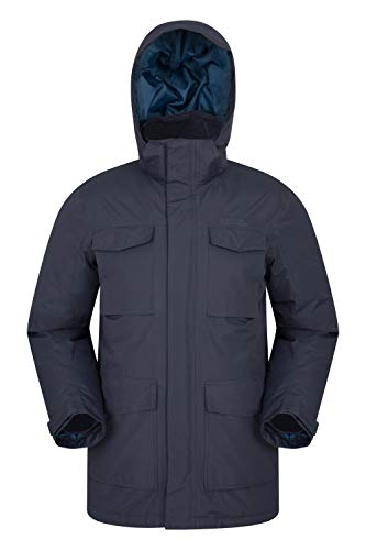 Mountain Warehouse Concord Extreme Mens Down Winter Long Jacket Blue Large