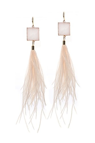 Natural Feather Jewelry Earrings (Badu Feather Women Earrings Chic Pink Natural Square Crystal Jewelry Pink Gold Earrings Long Accessories (Pink))
