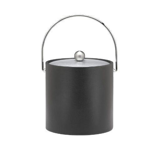 Kraftware Ice Bucket with Chrome Lid, Bale Handle and Astro Ball Knob, Black - 3 Quart