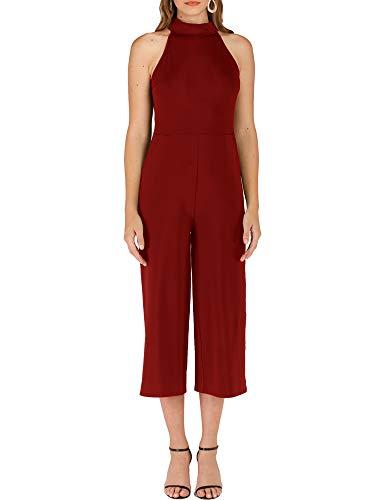 Cuihur Women's Casual Sleeveless Jumpsuit Strap Bow Wide Leg Halter Jumpsuits Rompers Burgundy -