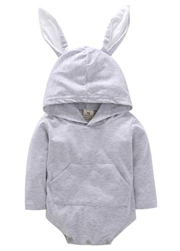 (Cute Infant Baby Boys Girls Romper Outfits Long Sleeve Bodysuit Cartoon Animal Rabbit Hooded Jumpsuit Set Autumn (Gray, 6-9)