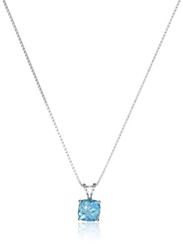 Sterling Silver Cushion-Cut Checkerboard Swiss Blue Topaz Pendant Necklace (6mm)
