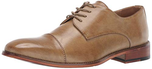 Kenneth Cole REACTION Men's Blake Cap Toe Lace Up Oxford, Tan, 9.5 M US