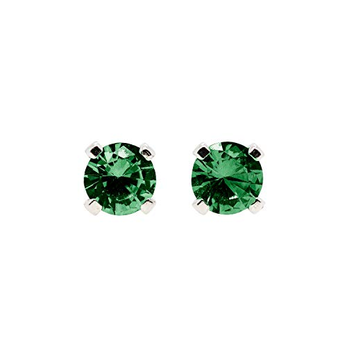 Emerald May Birthstone Ring - 3mm Tiny Green Emerald Gemstone Stud Earrings in Sterling Silver - May Birthstone