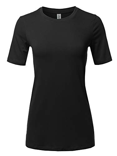 Basic Solid Premium Cotton Short Sleeve Crew Neck T Shirt Tee Tops Black M