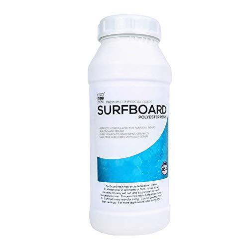 Surfboard Polyester Resin, 1 Quart NO MEKP Hardener, Fiberglass Repair Kit, Laminating Resin for Fiberglass Cloth, Fiberglass Repair and Building ()