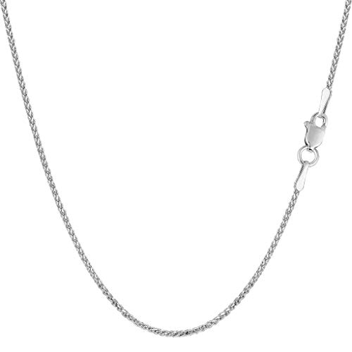 White Gold Round Charm - 14K Yellow or White or Rose/Pink Gold 1.1mm Shiny Diamond-Cut Round Wheat Chain Necklace for Pendants and Charms with Lobster-Claw Clasp (16