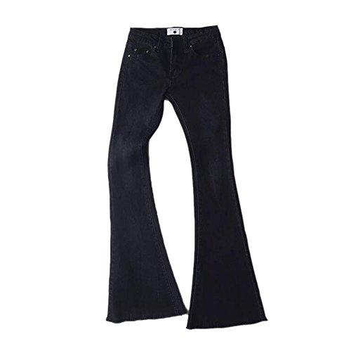 Keephen Pantalones de Mezclilla Vintage para Mujeres Pantalones de Cintura Elástica Suave Alta Pantalones Acampanados Delgados Negro