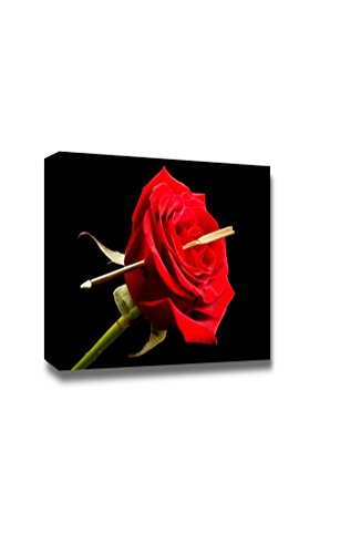 wall26 - Canvas Prints Wall Art - Cupid's Arrow Pierced Through The Heart of a Red Rose | Modern Wall Decor/Home Decoration Stretched Gallery Canvas Wrap Giclee Print. Ready to Hang - 24