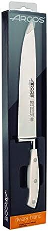 Arcos Serie Riviera Blanc, Cuchillo Cocinero, Hoja de Acero Inoxidable Forjado Nitrum 250 mm, Mango de Polioximetileno, POM Color Blanco