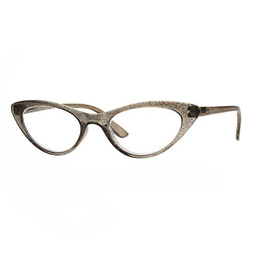 Womens Cat Eye Plastic Glitter Frame Reading Glasses 1.0 Brown