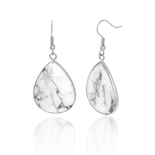 WILLOWBIRD Simulated Marble Earrings for Women Teardrop Shaped Silver-Tone Statement Drop (White)