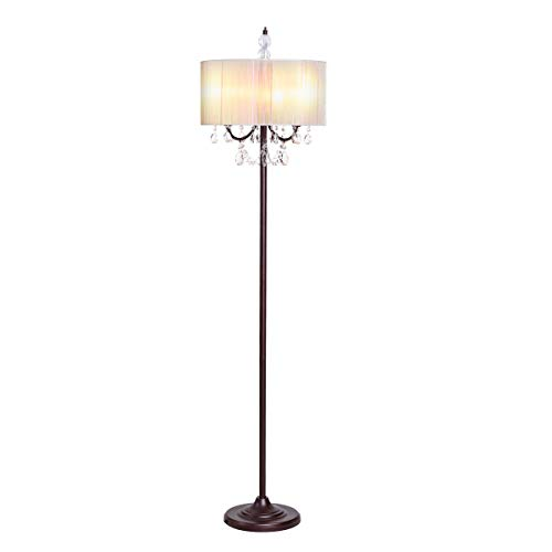 Tangkula Crystal Floor Lamp Sheer Shade Elegant Design Floor Light Tall Upright lamp Stand Light with Led Bulbs for Living Room, Bedroom and Office(Beige)