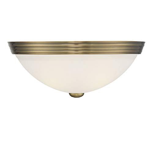 Savoy House 6-780-13-322 Flush Mount Ceiling Light Fixture in a Warm Brass Finish with White Glass (13