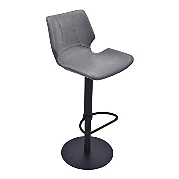 Armen Living LCZUBAVGBL Zuma Swivel Adjustable Barstool in Vintage Grey Faux Leather and Matte Black Metal Finish
