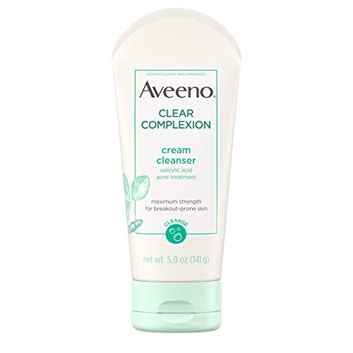 Aveeno Clear Complexion Cream Facial Cleanser with Salicylic Acid Acne Medicine, Face Wash with Soy Extract for Breakout Prone Skin, Hypoallergenic & Oil-Free, 5 fl. oz