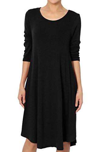 1 Jersey Sleeve - TheMogan Women's 3/4 Sleeve Soft Hacci Knit Fit & Flare A-Line Dress Black 1XL